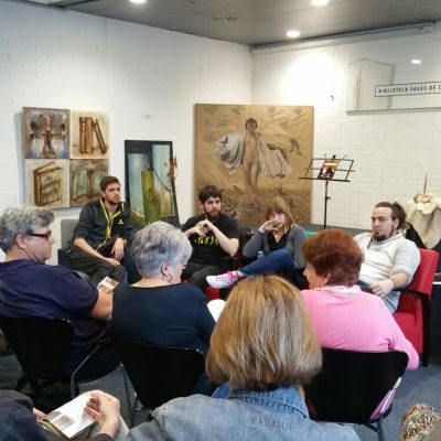 Part of the team Launching the talk of the club Reading Library Figueres